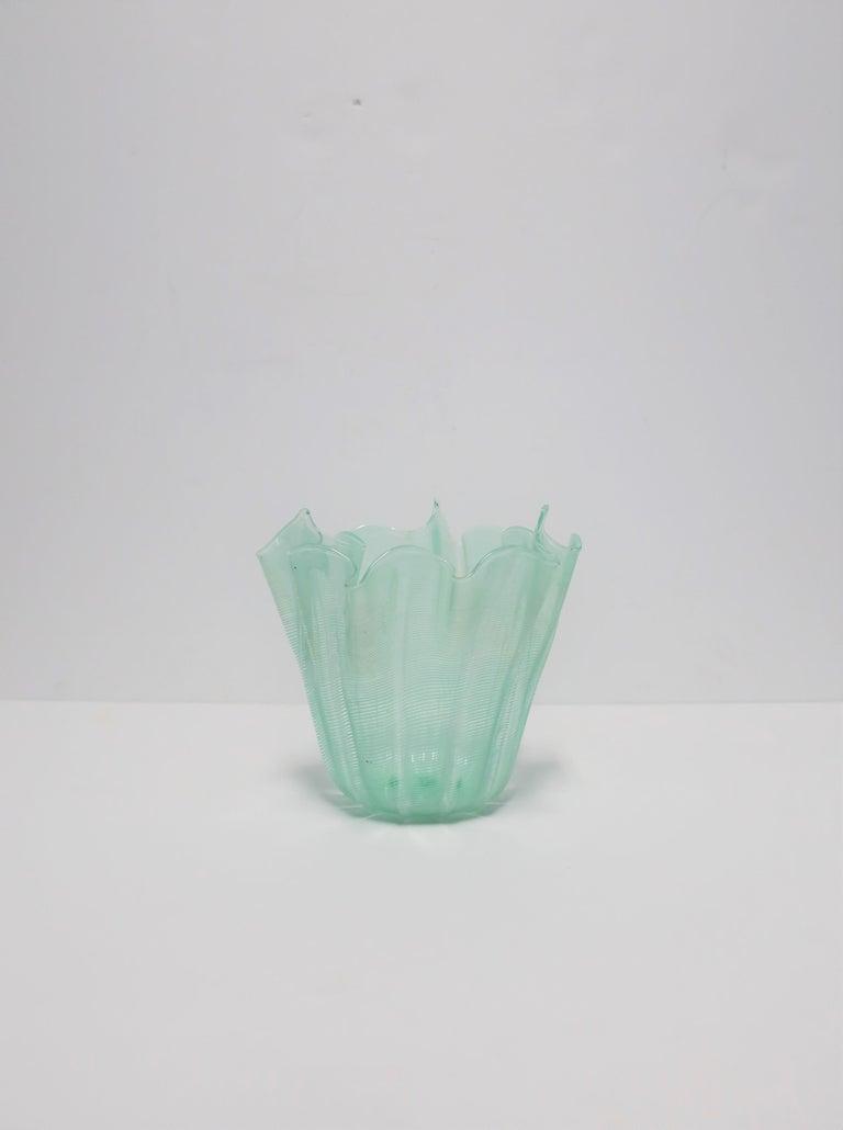 20th Century Italian Murano Art Glass Handkerchief Vase For Sale