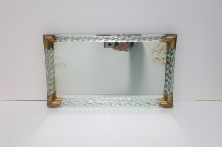 Italian Murano Art Glass Mirror and Brass Vanity Tray For Sale 7