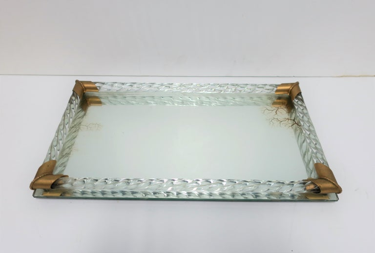 Italian Murano Art Glass Mirror and Brass Vanity Tray In Good Condition For Sale In New York, NY