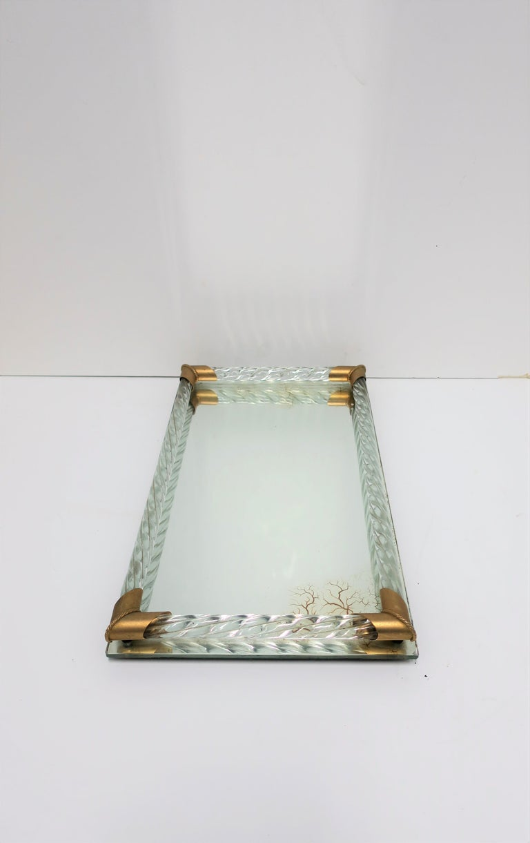 20th Century Italian Murano Art Glass Mirror and Brass Vanity Tray For Sale