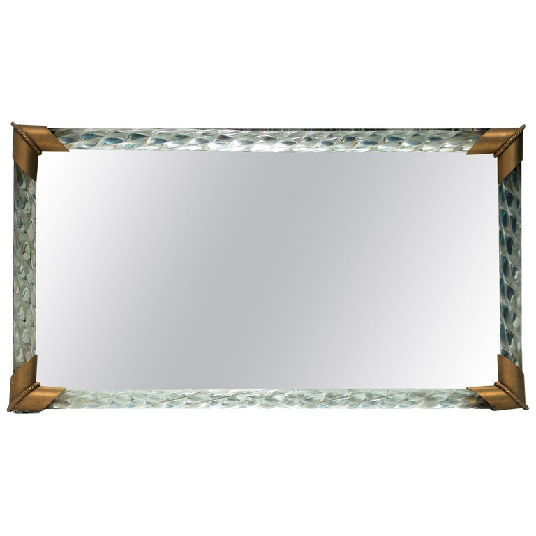 Italian Murano Art Glass Mirror and Brass Vanity Tray For Sale