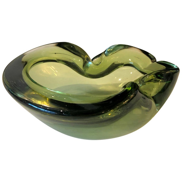 Italian Murano Blown Glass Peridot Green Ashtray / Candy Bowl / Bowl For Sale