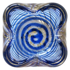 Italian Murano Blue and Gold Art Glass Bowl