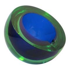 Italian Murano Blue and Green Art Glass Cigar Ashtray