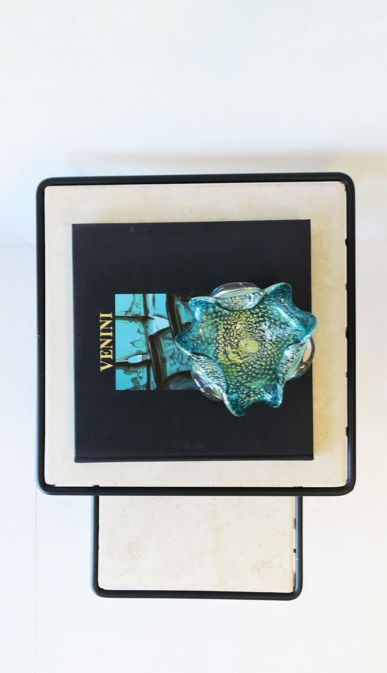 Italian Murano Blue Art Glass Bowl 4