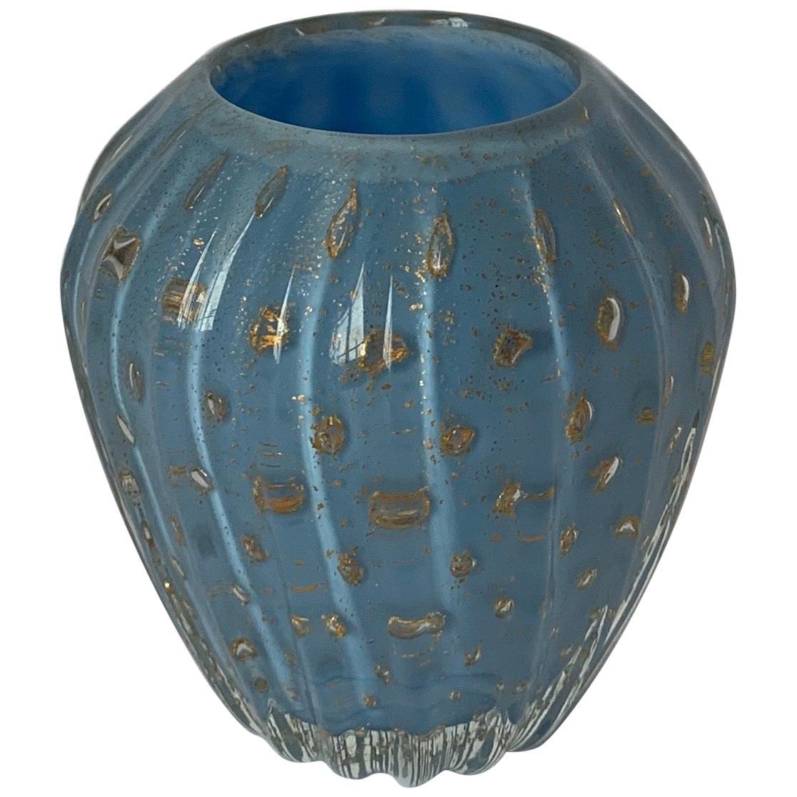 Murano Blue Bud Vase Attributed to Barbini