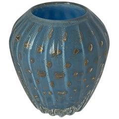 Italian Murano Blue Bud Vase Attributed to Barbini