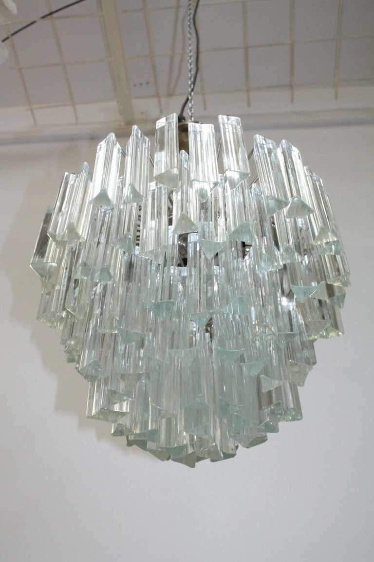 Original Murano chandelier by Venini, circa 1960. trilobo design with 108 pieces of glass in perfect condition.