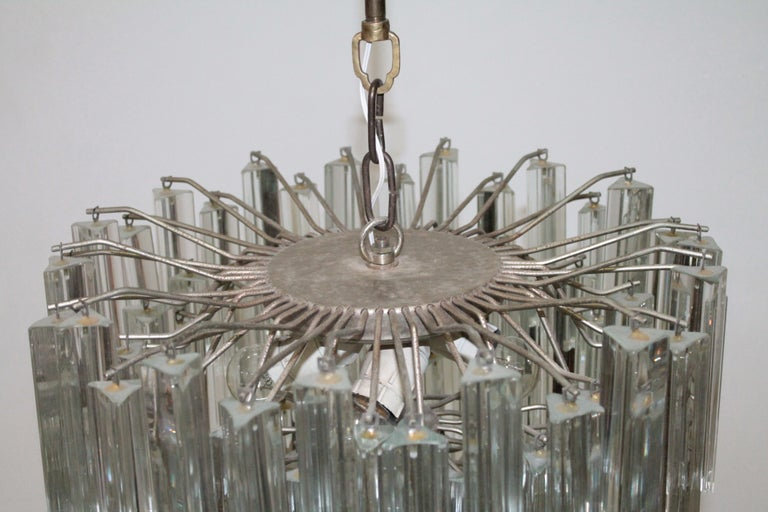 Murano Glass Italian Murano Chandelier Trilobo by Venini, 1960s For Sale