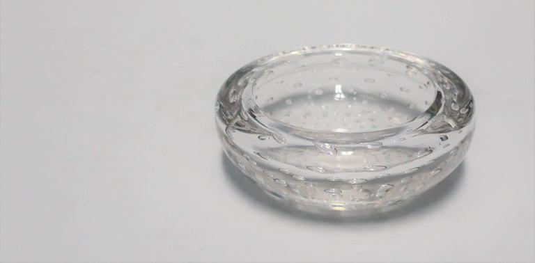 Modern Italian Murano Clear Art Glass Bowl For Sale