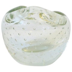 Italian Murano Clear Art Glass Vase or Decorative Object
