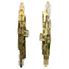 Italian Murano Clear Glass and Brass Tall Wall Sconces, 1980s