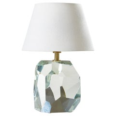 Italian Murano Clear 'Rock' Table Lamp