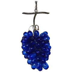 Italian Murano Cobalt Mouth Blown Drops Grape Cluster Chandelier