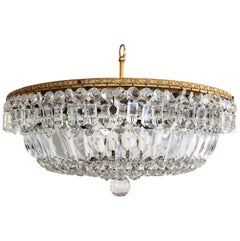 Italian Murano Crystal Glass and Brass Flush Mount Chandelier, 1950s