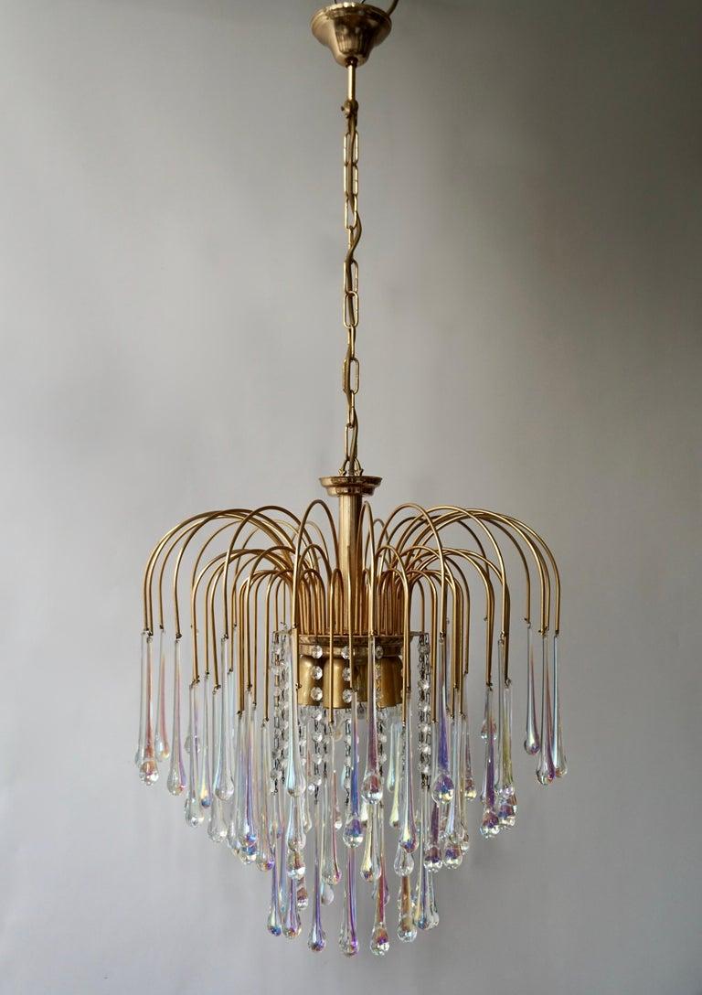 Hollywood Regency Italian Murano Crystal Teardrop Waterfall Chandelier, 1950s For Sale