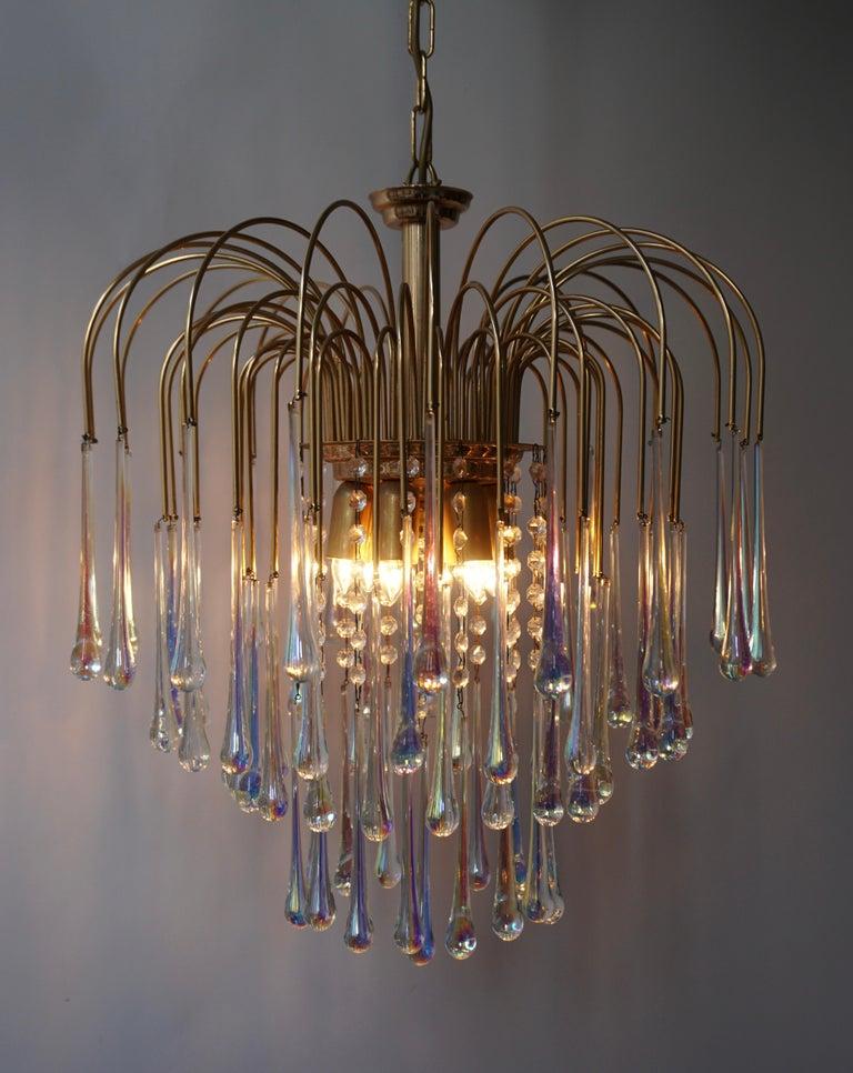20th Century Italian Murano Crystal Teardrop Waterfall Chandelier, 1950s For Sale