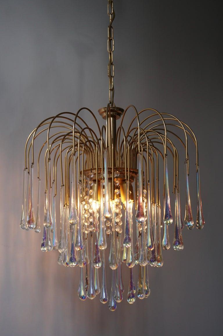 Brass Italian Murano Crystal Teardrop Waterfall Chandelier, 1950s For Sale