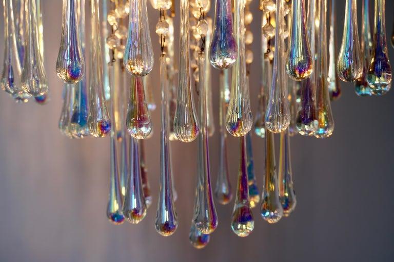 Italian Murano Crystal Teardrop Waterfall Chandelier, 1950s For Sale 1