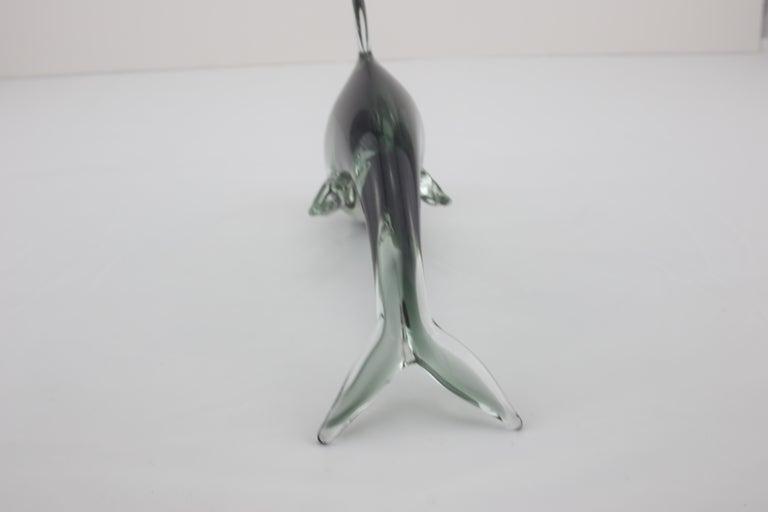 Mid-Century Modern Italian Dolphin Sculpture in Green Black Murano Glass, 1960s For Sale 3