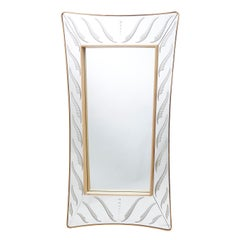 Italian Murano Engraved Glass Framed Mirror, Style of Fontana Arte, circa 1950