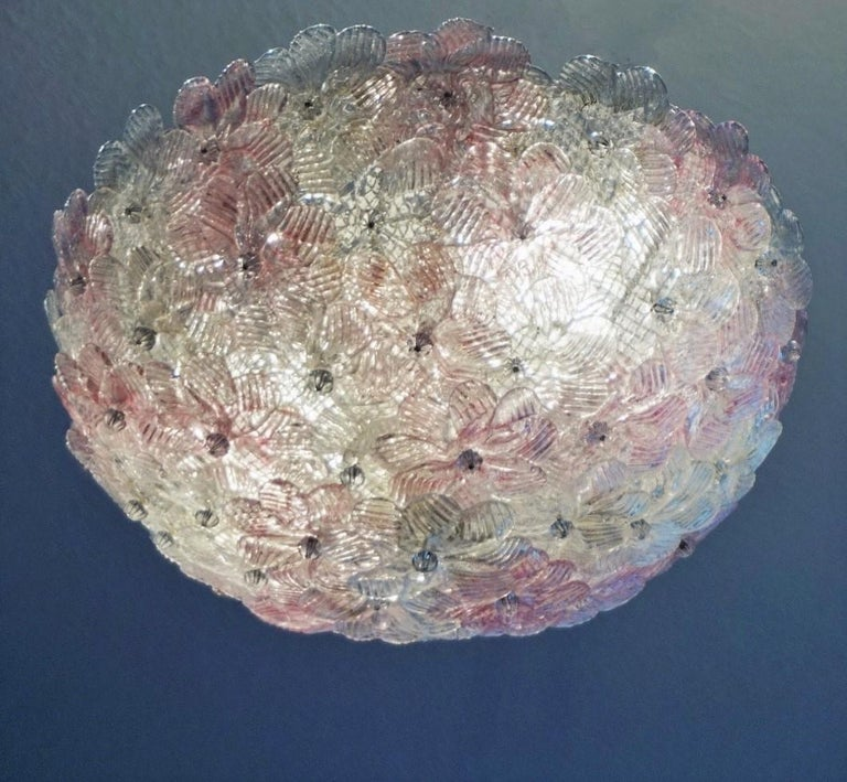 20th Century Italian Murano Flower Basket Flushmount or Wall Lamp by Barovier & Toso, 1960s For Sale