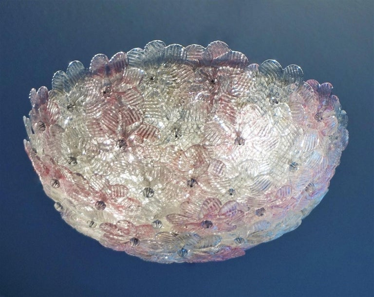 Metal Italian Murano Flower Basket Flushmount or Wall Lamp by Barovier & Toso, 1960s For Sale