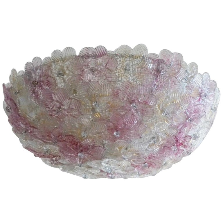 Italian Murano Flower Basket Flush Mount or Wall Lamp by Barovier & Toso, 1960s For Sale