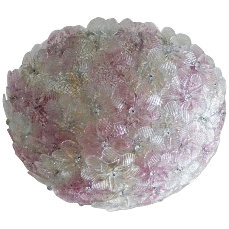 Italian Murano Flower Basket Flushmount or Wall Lamp by Barovier & Toso, 1960s For Sale