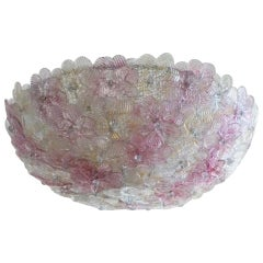 Italian Murano Flower Basket Flushmount or Wall Lamp by Barovier & Toso