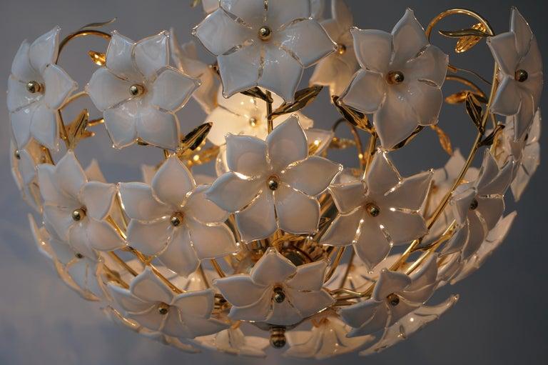 Italian Murano Flower Bouquet Art Glass Gilt Brass Chandelier For Sale 5