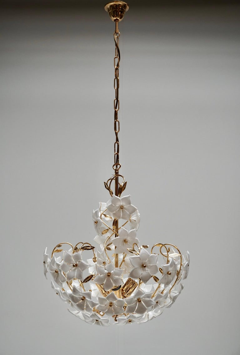 Hollywood Regency Italian Murano Flower Bouquet Art Glass Gilt Brass Chandelier For Sale