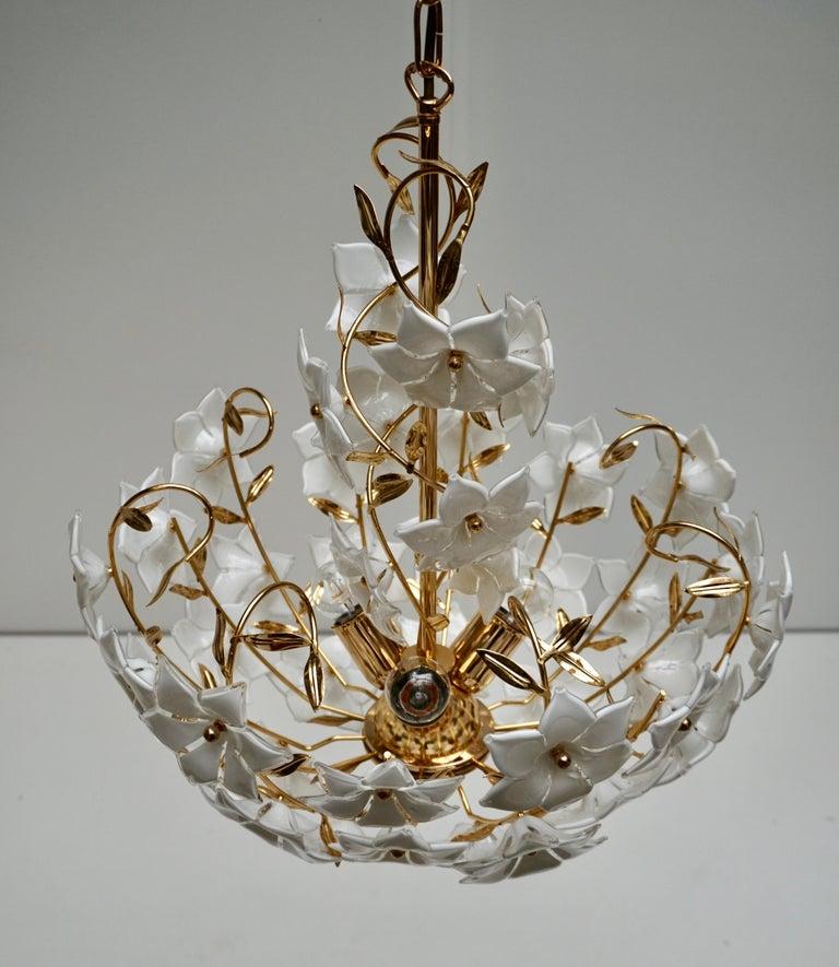 Italian Murano Flower Bouquet Art Glass Gilt Brass Chandelier For Sale 2