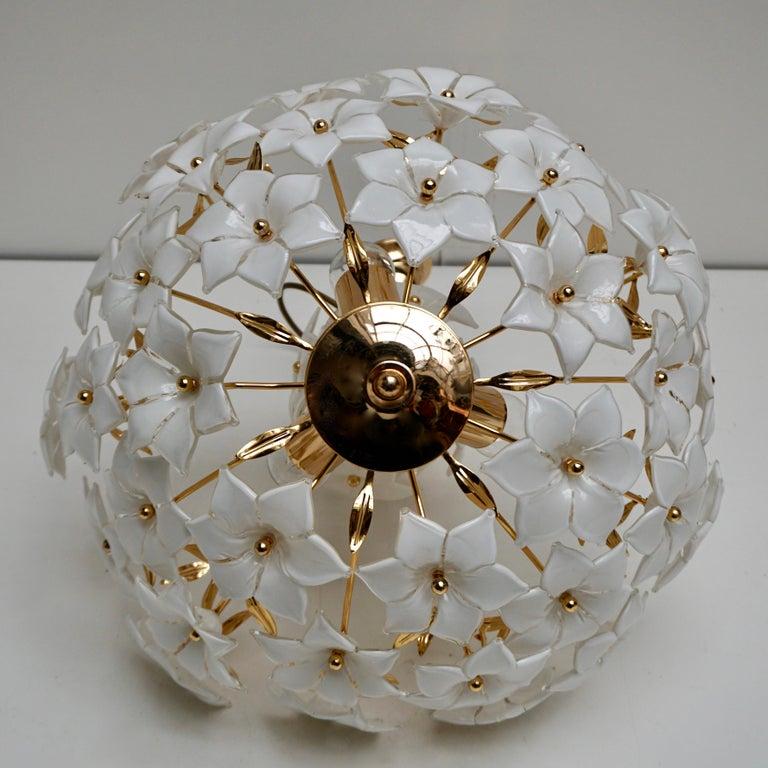 Italian Murano Flower Bouquet Art Glass Gilt Brass Chandelier For Sale 3