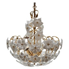 Italian Murano Flower Bouquet Art Glass Gilt Brass Chandelier