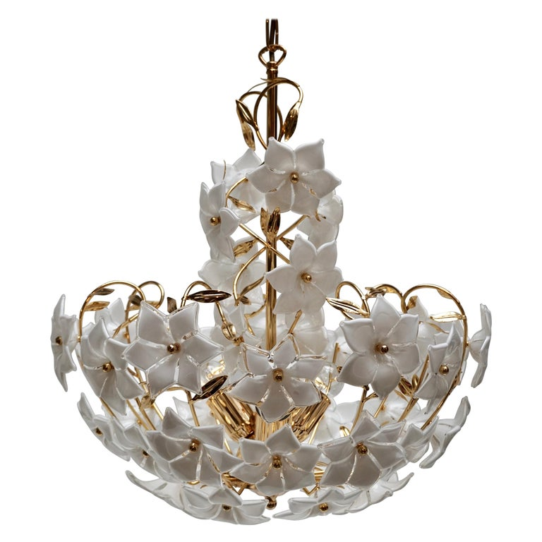 Italian Murano Flower Bouquet Art Glass Gilt Brass Chandelier For Sale