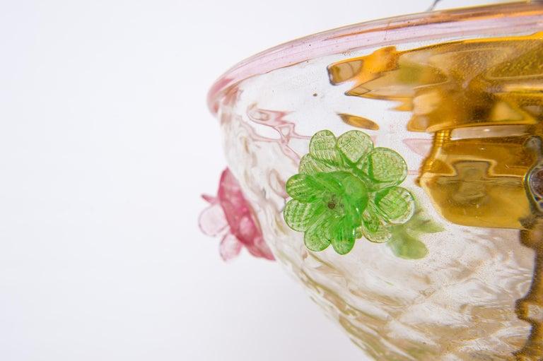 Italian Murano Flush Mount Baloton Pink and Green Flowers Contemporary 5