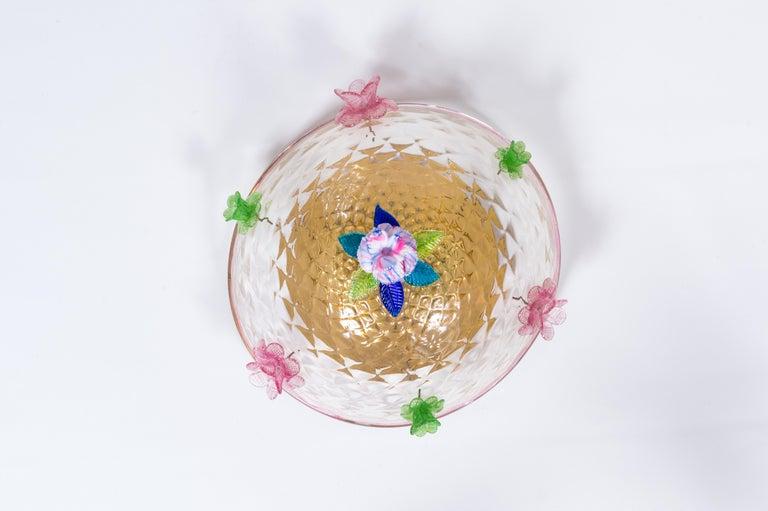 Italian Murano Flush Mount Baloton Pink and Green Flowers Contemporary 7