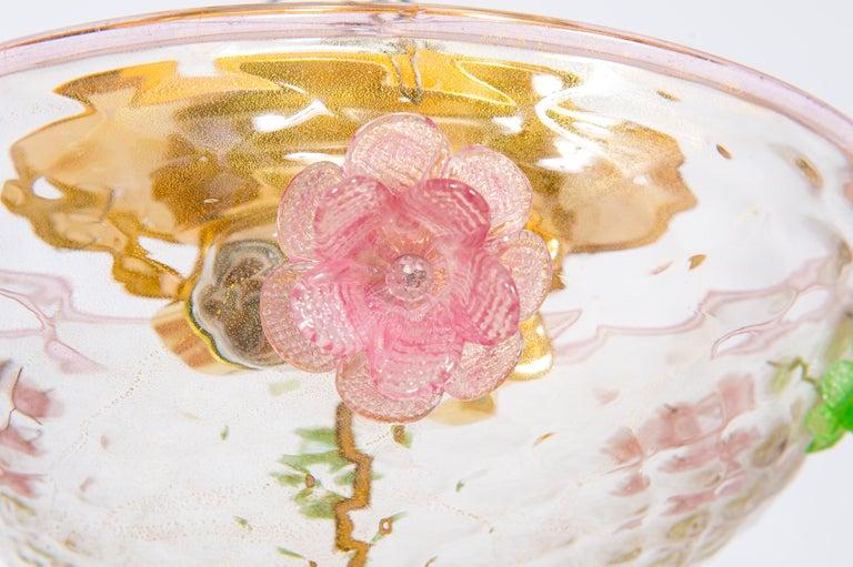 Italian Murano Flush Mount Baloton Pink and Green Flowers Contemporary 10