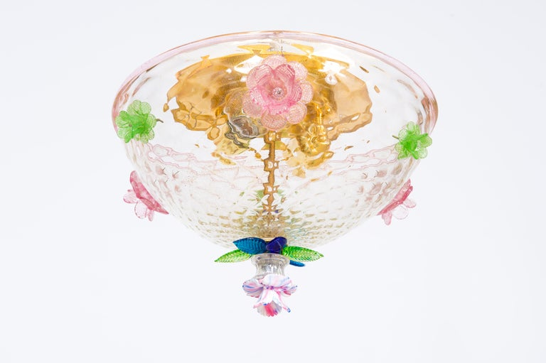 Hand-Crafted Italian Murano Flush Mount Baloton Pink and Green Flowers Contemporary