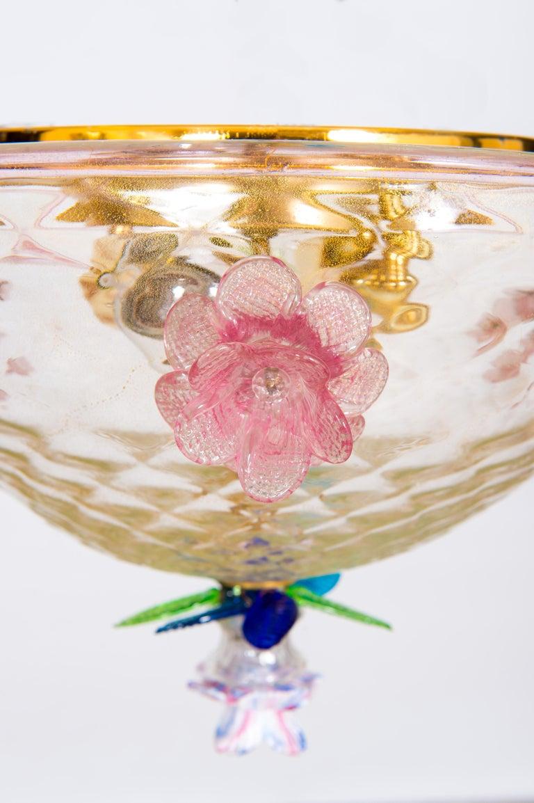 Italian Murano Flush Mount Baloton Pink and Green Flowers Contemporary 1