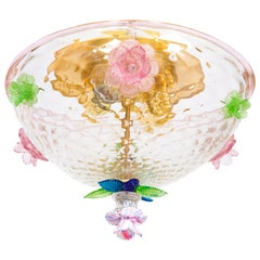 Italian Murano Flush Mount Baloton Pink and Green Flowers Contemporary