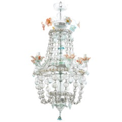Italian Murano Glass 6-Light Chandelier with Hand Blow Drops, circa 1930