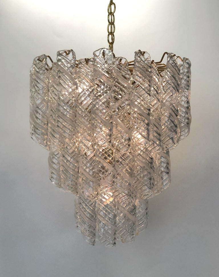 Italian Murano Glass and Brass Chandelier by Mazzega  For Sale 4