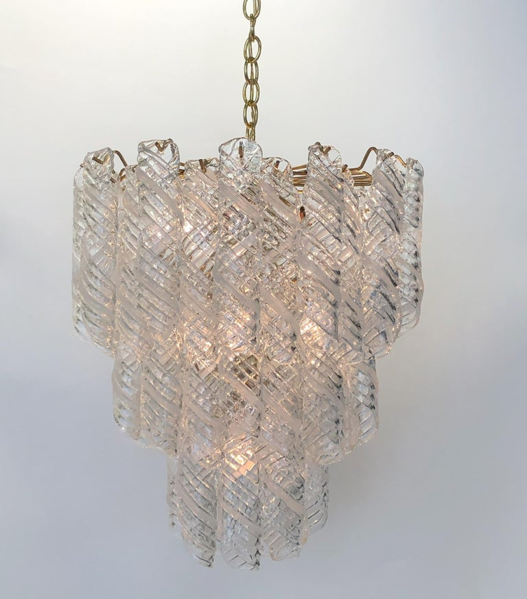 Modern Italian Murano Glass and Brass Chandelier by Mazzega  For Sale