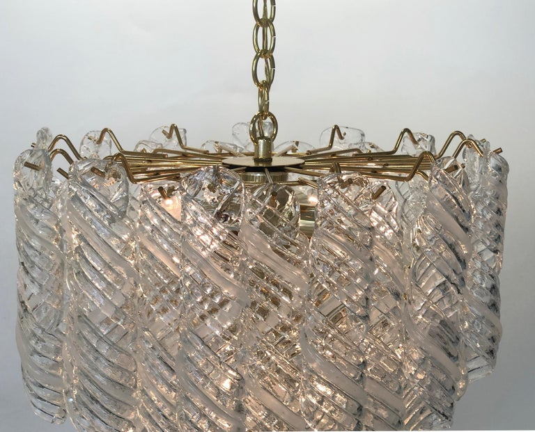 Polished Italian Murano Glass and Brass Chandelier by Mazzega  For Sale