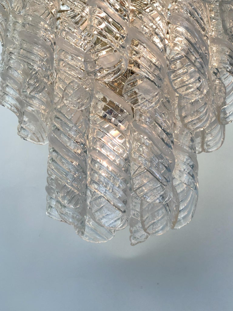 Italian Murano Glass and Brass Chandelier by Mazzega  In Excellent Condition For Sale In Palm Springs, CA
