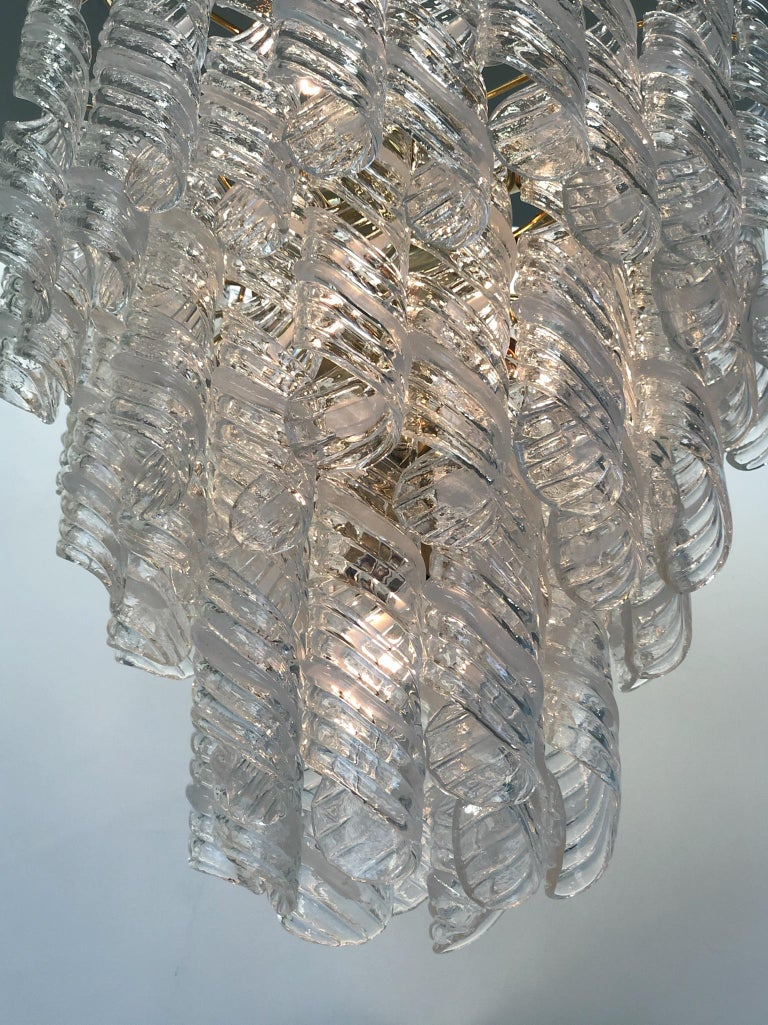 Italian Murano Glass and Brass Chandelier by Mazzega  For Sale 1