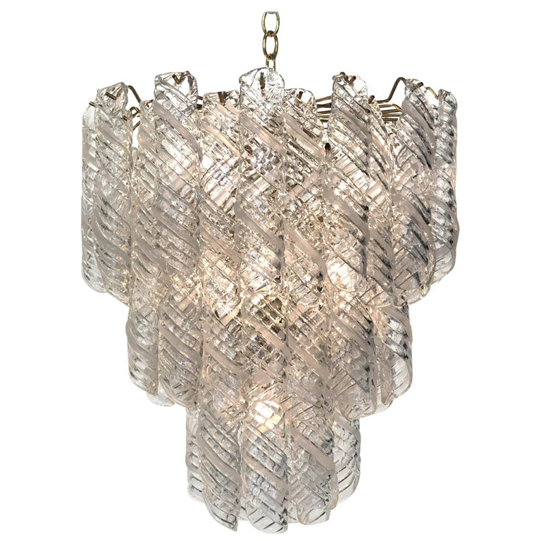 Italian Murano Glass and Brass Chandelier by Mazzega  For Sale