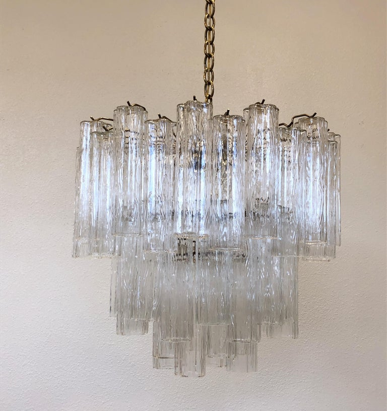 Modern Italian Murano Glass and Brass Chandelier by Venini For Sale